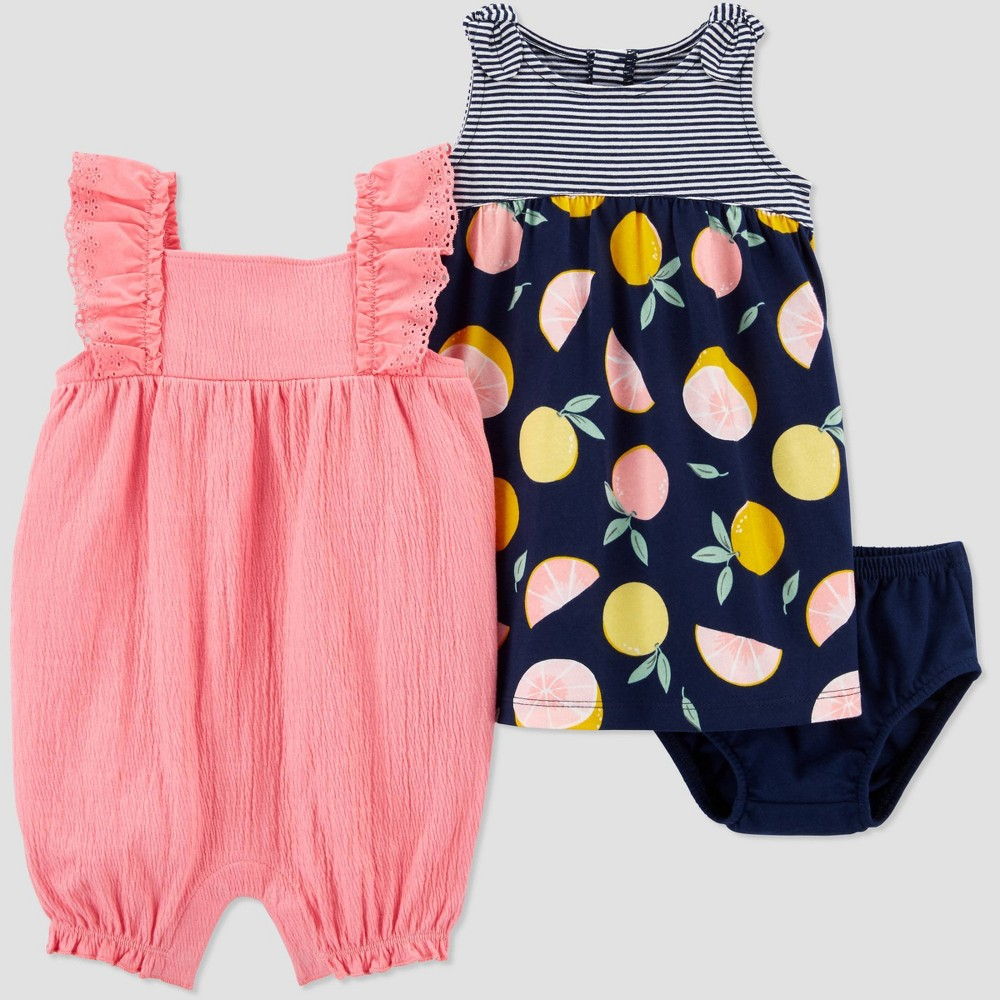 Baby Girls 39 2pk Floral 38 Grapefruit Romper Set Just One You 174 Made By Carter 39 S Pink Newborn