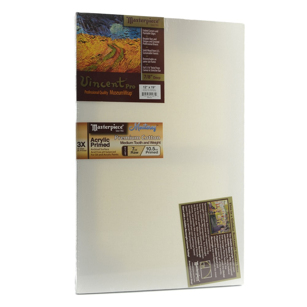 "Image of ""Masterpiece Vincent Pro Stretched Cotton Canvas, Golden Rectangle, 12""""x19"""", White"""