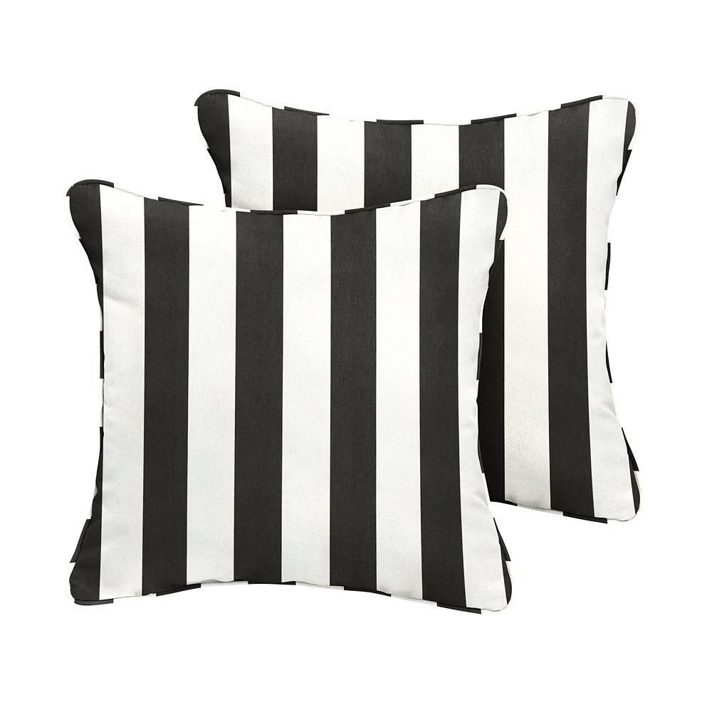 Image of Sunbrella 2pk Cabana Classic Outdoor Throw Pillows Black/White