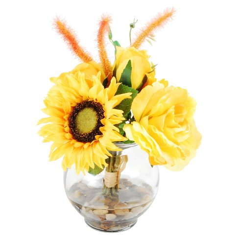 "Artificial Mixed Floral Arrangement Yellow 9"" - LCG Florals - image 1 of 1"