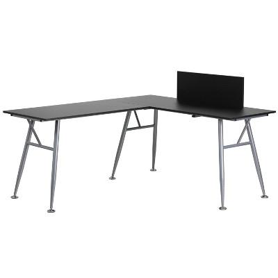 Laminate L - Shape Computer Desk with Frame Finish - Black Laminate Top/Silver Frame - Riverstone Furniture Collection
