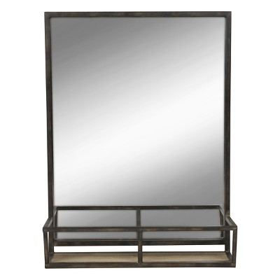 "22"" x 29"" Jackson Metal Framed Mirror with Shelf Black - Kate and Laurel"