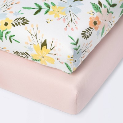 Fitted Mini Crib Sheet- Cloud Island™ Meadow/Pink 2pk