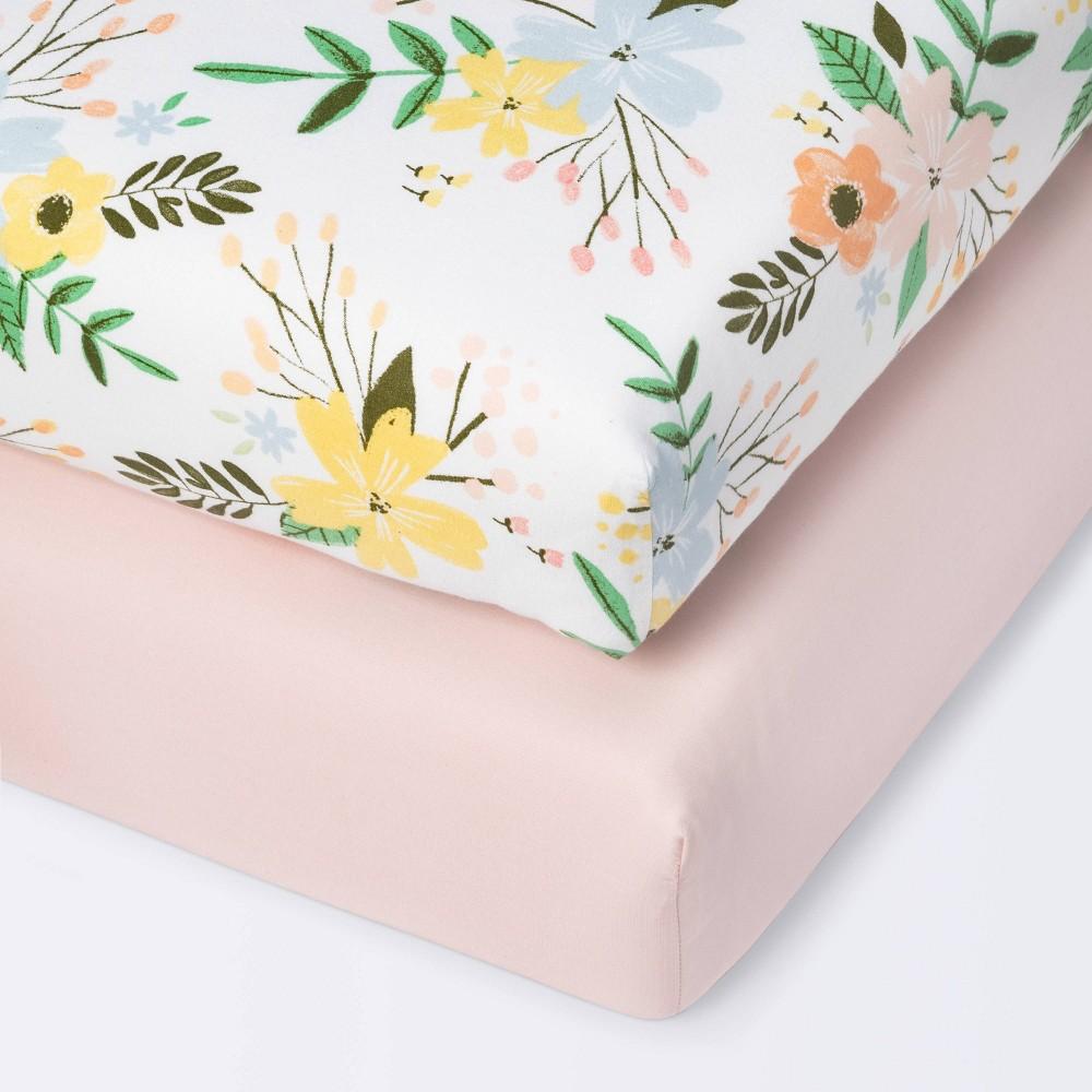 Fitted Mini Crib Sheet Cloud Island 8482 Meadow Pink 2pk