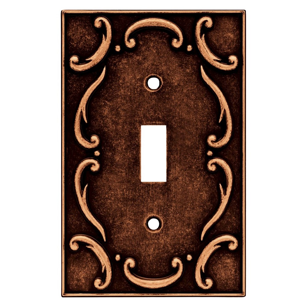 Brainerd French Lace Single Switch Wall Plate - Sponged Copper