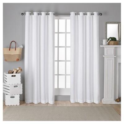 Antique Shantung Woven Blackout Curtain Panels White (52 x96 )- Exclusive Home®