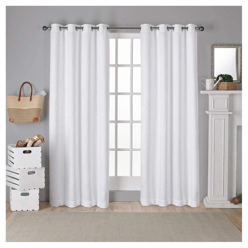 Antique Shantung Woven Blackout Curtain Panels White (52x108) - Exclusive Home