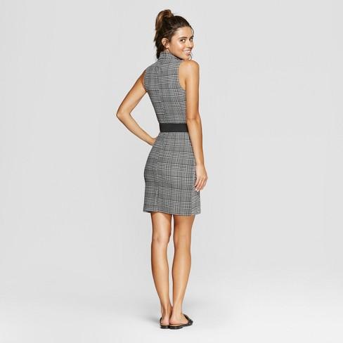 c485d27a7d9ac4 Women s Plaid Sleeveless Belted Blazer Dress - Almost Famous (Juniors )  White Black M   Target