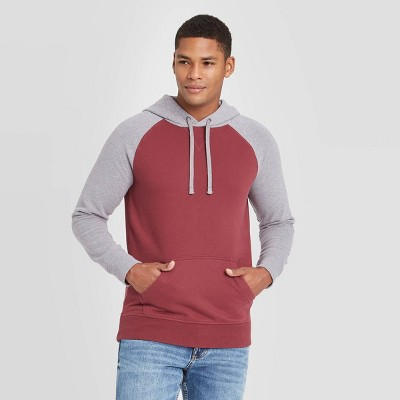 Men's Colorblock Regular Fit Fleece Pullover Hoodie - Goodfellow & Co™ Red
