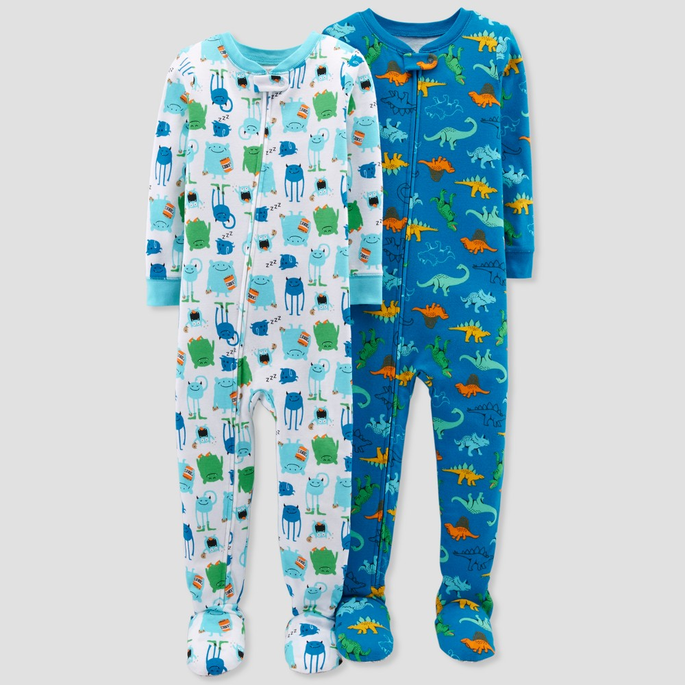 Toddler Boys' Dino Monster Footed Sleeper Pajama Set - Just One You made by carter's Green Sprinkle 3T