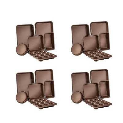 NutriChef Kitchen Oven Non Stick Carbon Steel Tray Sheet 6 Piece Bakeware Set with Cookie Tray, Cake Pan, Muffin Pan, and Bread Loaf Pan Gold (4 Pack)