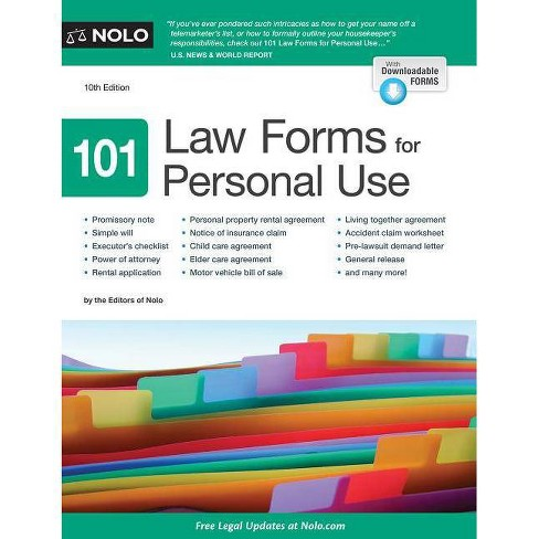 101 Law Forms for Personal Use - by Nolo Editors (Paperback)
