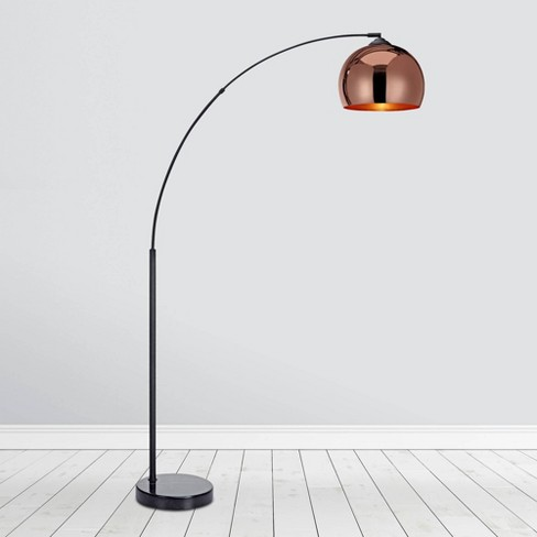 Bell Shade And Marble Base Rose Gold, Skinny Floor Lamp With Shade