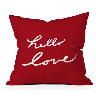 """16""""x16"""" Lisa Argyropoulos Hello Love Square Throw Pillow Red - Deny Designs"""