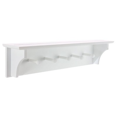 Foster Wall Shelf with Pegs - White