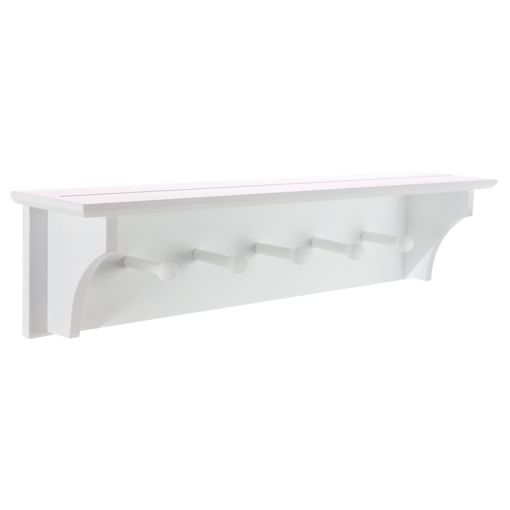 Image of Foster Wall Shelf with Pegs - White