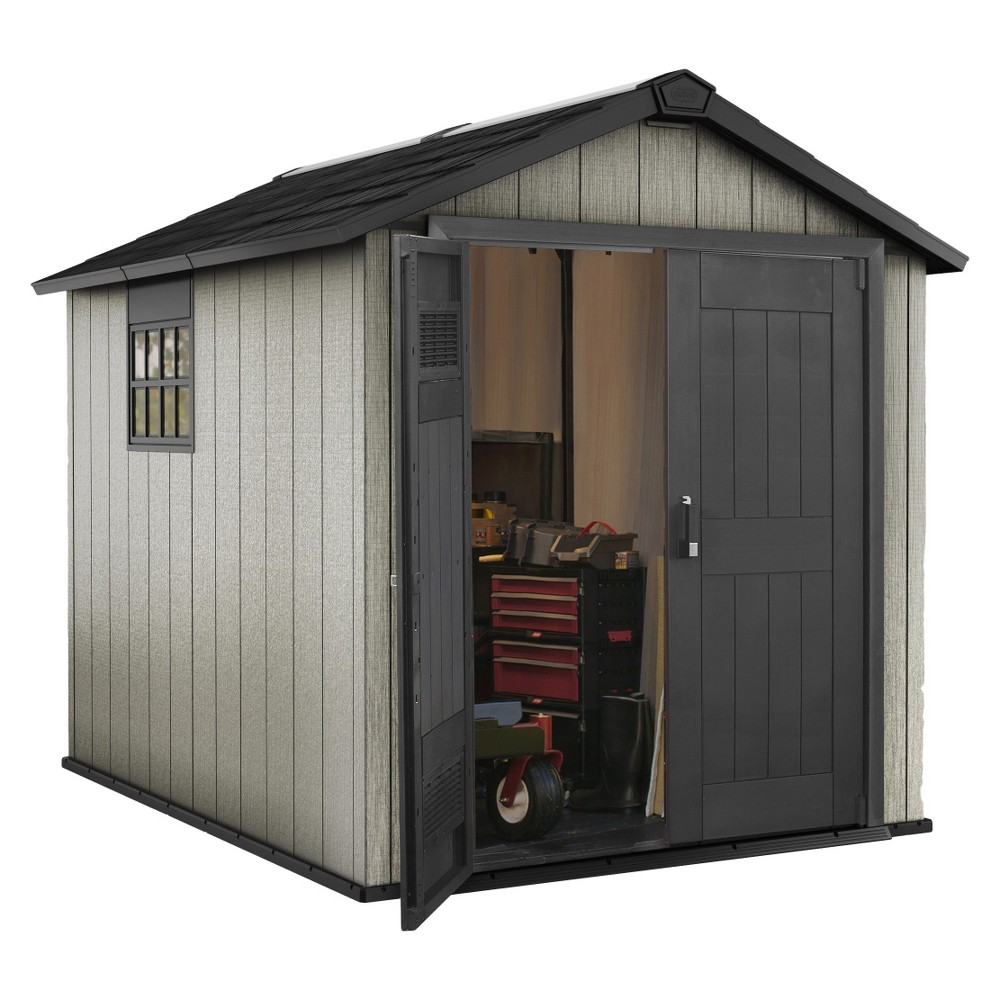 Image of Oakland Large Resin Outdoor Customizable Storage Shed 7.5 x 9 - Gray - Keter