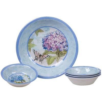 5pc Melamine Hydrangea Garden Salad/Serving Set Blue/Purple - Certified International