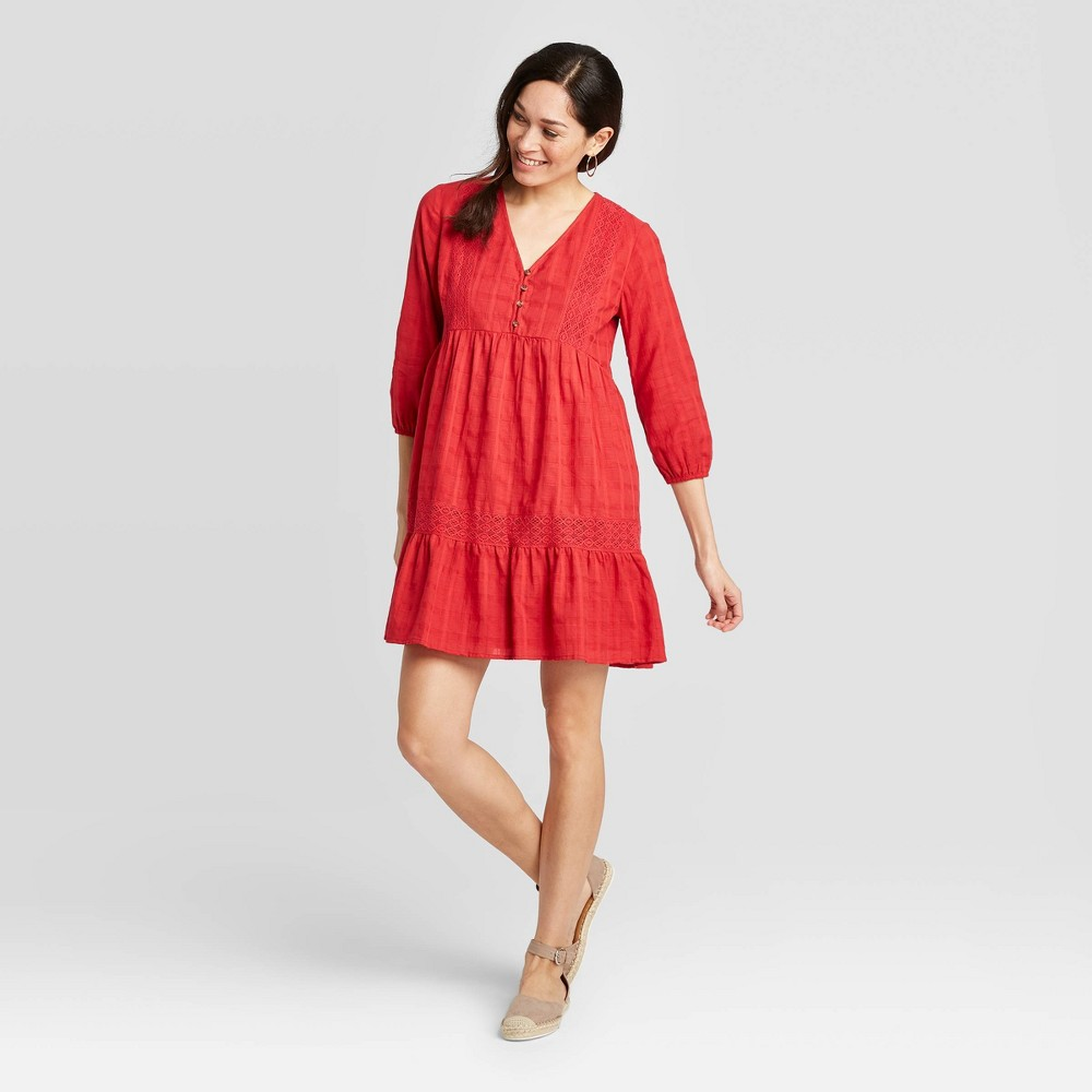 Image of Women's 3/4 Sleeve Tiered Mini Dress - Knox Rose Red L, Women's, Size: Large