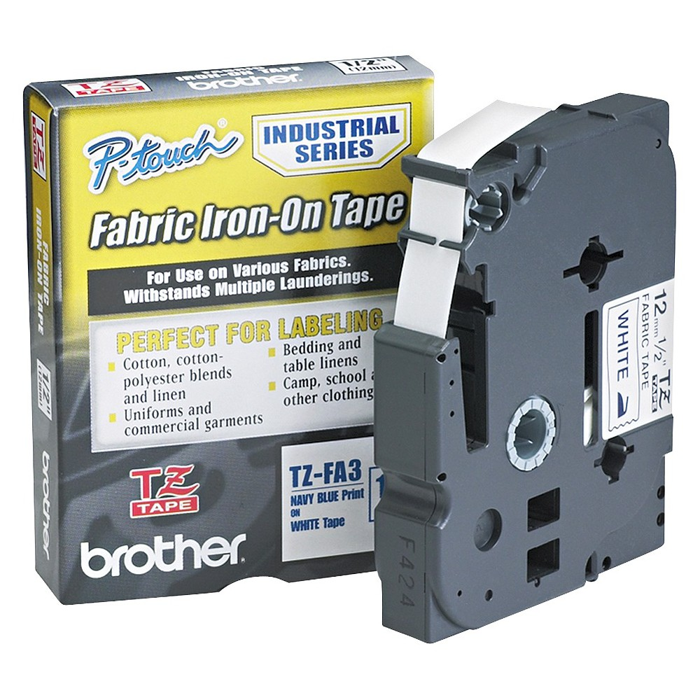Brother P - Touch TZ Industrial Series Fabric Iron - On Tape - Navy/White
