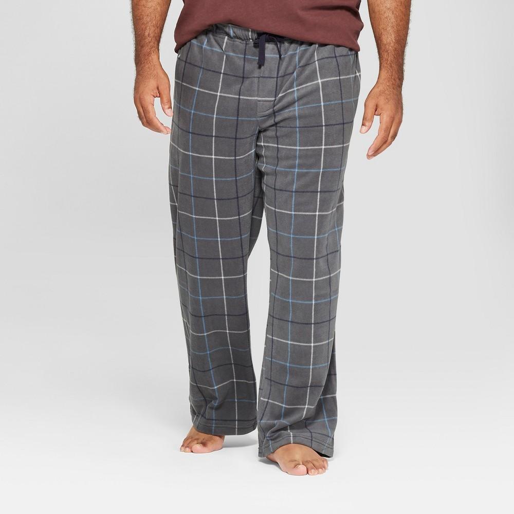 Men's Big & Tall Plaid Micro Fleece Pajama Pants - Goodfellow & Co Railroad Gray 2XBT