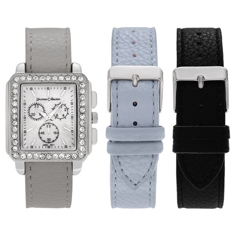 Women's Journee Collection Rhinestone Accent Square Face Interchangeable Watch Strap Set - image 1 of 3