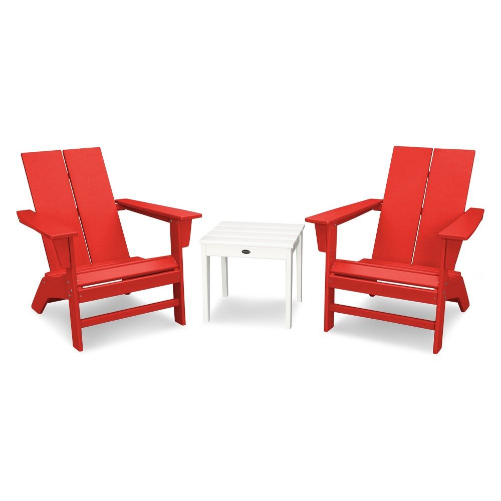 St. Croix 3pc Contemporary Adirondack Set - Sunset Red/White - Polywood