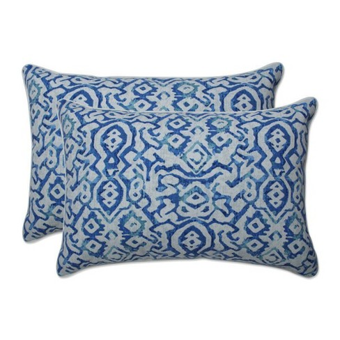 2pc Outdoor/Indoor Throw Pillow Set Moroccan Flowers Slate Blue - Pillow Perfect - image 1 of 1