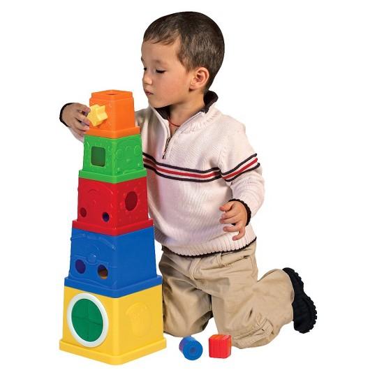 Melissa & Doug K's Kids Stacking Blocks Set With Sorting Shapes image number null