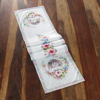 Lakeside Easter Bunny Wreath Motif Dining Room Tabletop Runner for Holidays