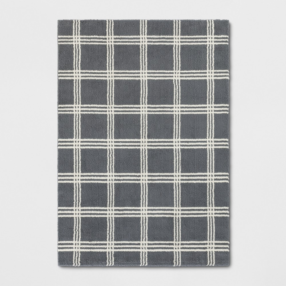 5'X7' Plaid Tufted Area Rugs Gray - Threshold