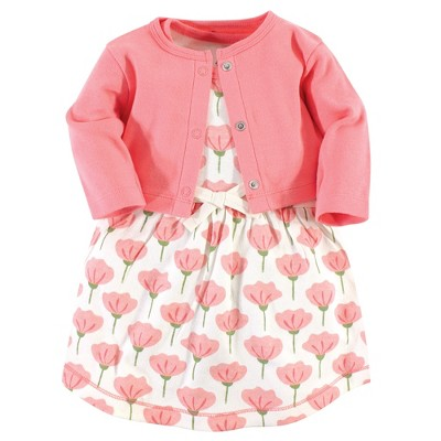 Touched by Nature Baby and Toddler Girl Organic Cotton Dress and Cardigan 2pc Set, Tulip