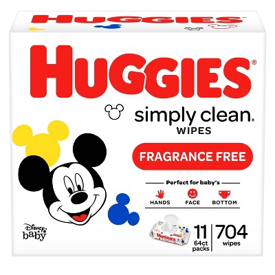Huggies Simply Clean Unscented Baby Wipes 11 Flip-Top Packs (704ct)
