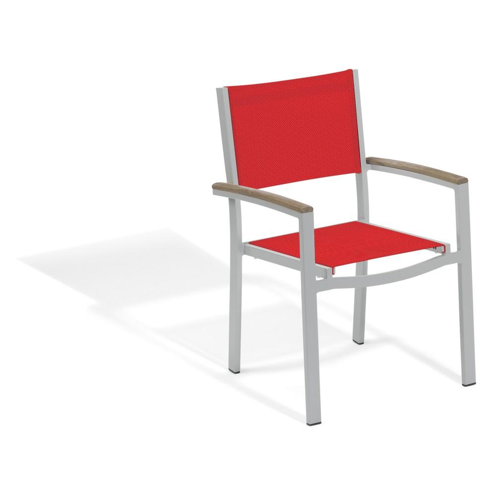Set of 2 Travira Tekwood Vintage Sling Armchair Red Seat - Oxford Garden, Antique Wood