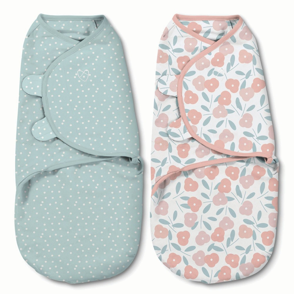 Image of SwaddleMe Original Swaddle 0-3M - 2pk Petals and Dots S, Infant Unisex, Size: Small, Pink