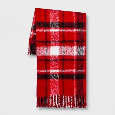 Plaid Faux Mohair Throw Blanket Red/Black - Threshold™