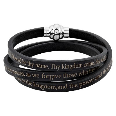 "Men's Stainless Steel Lord's Prayer Wrap Leather Bracelet (6.5mm) - Black (8.5"")"
