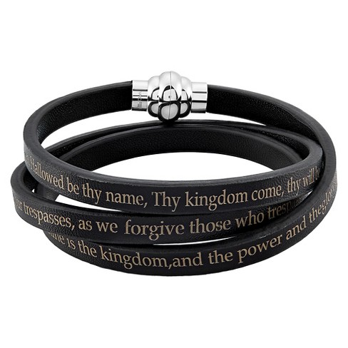 "Men's Stainless Steel Lord's Prayer Wrap Leather Bracelet (6.5mm) - Black (8.5"") - image 1 of 3"