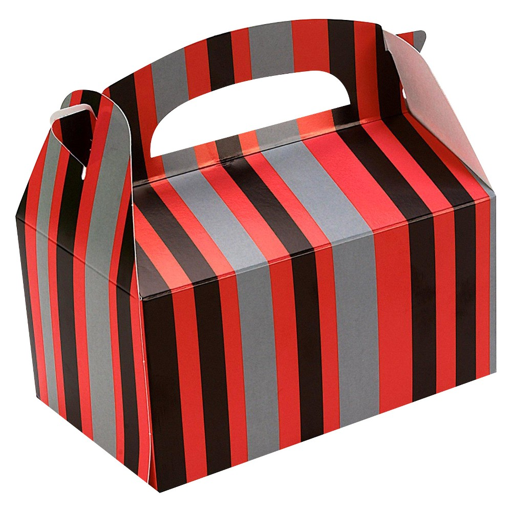 8 ct Red and Black Striped Favor Boxes, Multi-Colored