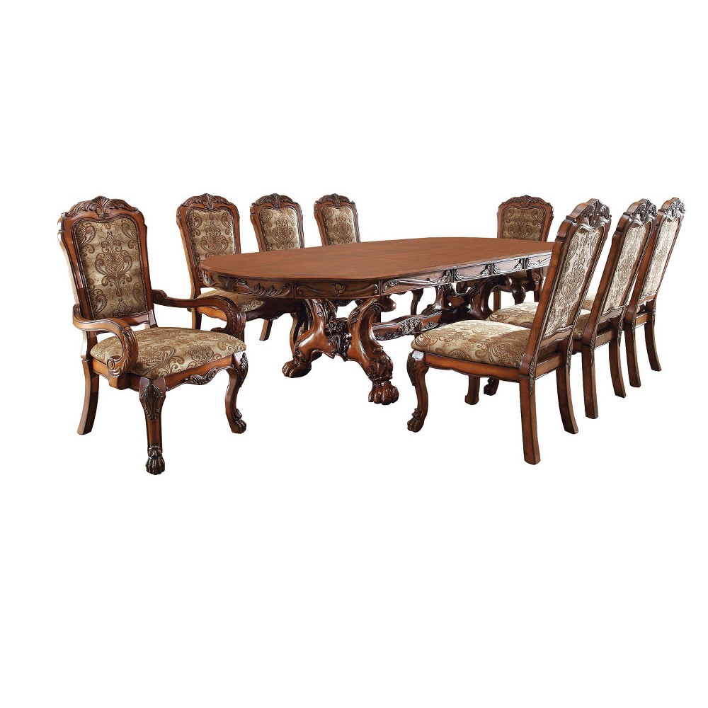 Image of ioHomes 9pc Lion Claw Elegant Carved Dining Table Set Wood/Antique Oak