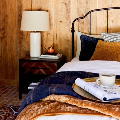 Fall Bedding with Functional Nightstand Collection style by Emily Henderson