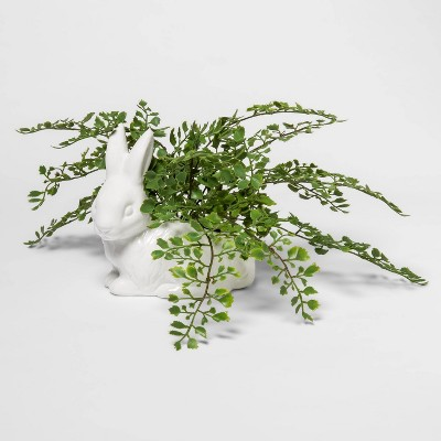 """8.5"""" x 7"""" Artificial Fern in Bunny Shaped Ceramic Pot Green/White - Threshold™"""