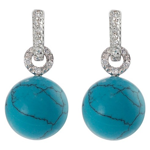 1/3 CT. T.W. Round-cut Cubic Zirconia Pave Set Bead Dangle Earrings in Sterling Silver - Turquoise - image 1 of 2
