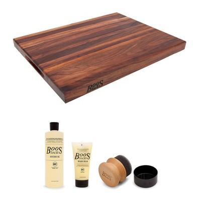 John Boos Cutting Board Bundle w/Walnut Edge Grain Reversible Cutting Board, 24 x 18 x 1.5 Inches and 3 Piece Wood Cutting Board Care/Maintenance Set