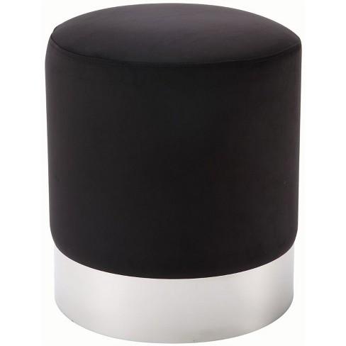 Jason Black Velvet Round Ottoman - Chrome Metal Base - Upholstered in Black - Posh Living - image 1 of 3