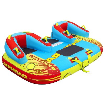 Airhead 1-3 Rider Challenger Inflatable Towable Boating Water Sports Lake Boating Tube with Dual Tow Points, Handles, and Backrest