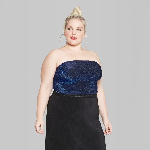 e41ca652eb Women s Plus Size Glitter Tube Top - Wild Fable  15   Target
