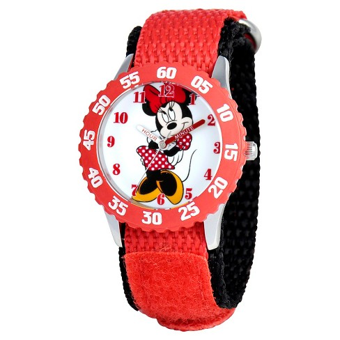 Disney® Girls' Minnie Mouse Stainless Steel Case with Bezel Watch - Red - image 1 of 2