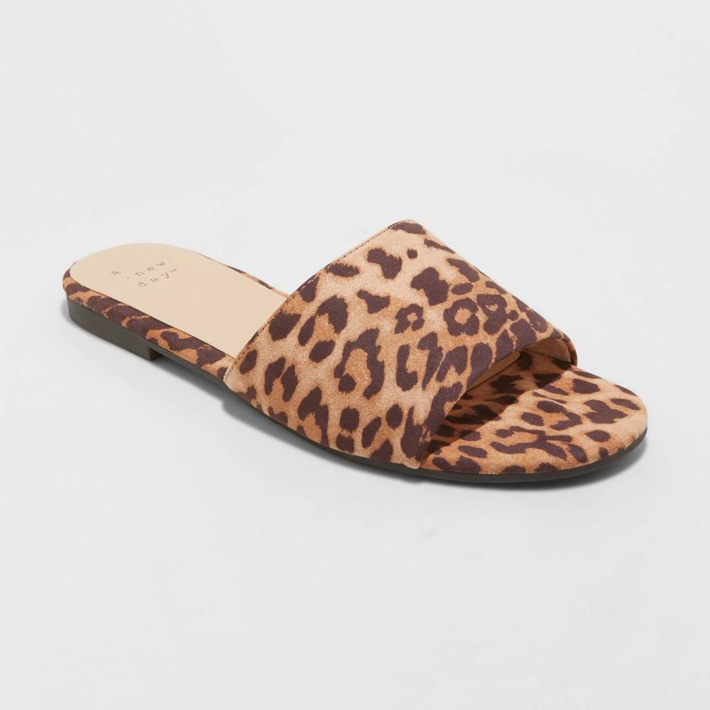 Women 39 S Heidi Wide Width Leopard Print Slide Sandals A New Day 8482 Brown 9w