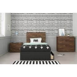 4pc Twin Bogota Bedroom Set with Headboard Extension Panels Brown/Black - Nexera